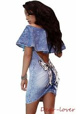 Denim Blue Sequined Bow Back Cut Out Off Shoulder Women Sexy Party Mini Dress