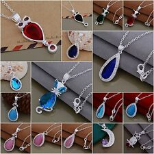 New Wholesale Fashion 925Silver Jewelry Pendant Necklace Chain Xmas Gift+Box
