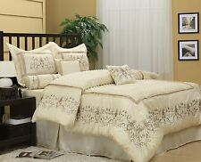 Luxurious Ivory 7-Piece Jacquard Comforter Bedding Set New.