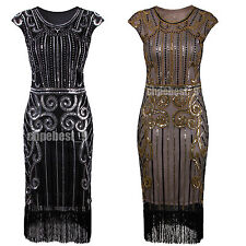 1920s Flapper Dress Gatsby Charleston Sequin Bead Fringe Cocktail Casual Dresses