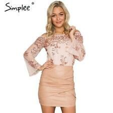 Sexy Women Off Shoulder Sequin Mesh Embroidered Bodysuit Flare Sleeve Playsuit