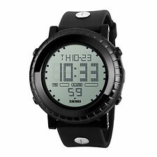 Fashion Mens Outdoor Waterproof Military Quartz Date Alarm Rubber Sport Watch
