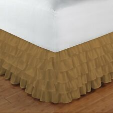 """Home Fashion Ruffle Bed Skirt Taupe Solid Drop 8 To 20"""" Egyptian Cotton"""