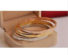 Fashion Stainless Steel Women's Cuff Bangle Gold Plated Jewelry Crystal Bracelet