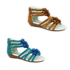 WOMENS LADIES TRAPPY GLADIATOR WEDGE HEEL FLORAL DETAILS SANDALS SHOES SIZE 3-8