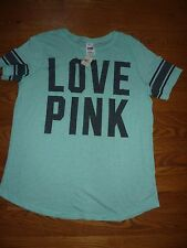 "VICTORIAS SECRET PINK PERFORATED SCOOPNECK/CREW ""LOVE PINK"" TEESHIRT NWT"