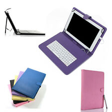 "PU Leather Folio Case Cover Micro USB Keyboard for 10"" 10.1"" 10.2"" Tablet+Stylus"