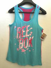 NWT Women's Size M & L only Slim Reebok Tank Top Graphic Tees Color Blue/Curacao