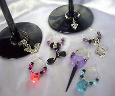 Gothic Fleur, Skulls, Vamire, Bat Wedding Favours Decorations Wine Glass Charms