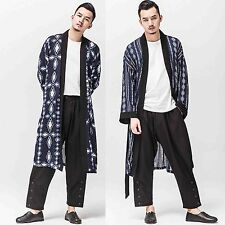 Men Oriental Japanese Eastern No Closure Longline Overcoat Outerwear Coat Jacket