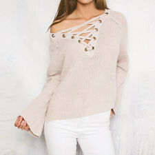 Women's Autumn Winter Long Sleeved Lace Up Knitted Sweater Tops Jumper Pullover