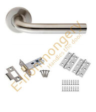"Eurospec Unsprung Straight Handle Latch/Lock/Bathroom Pack 3"" BB Hinges 76mm BSS"