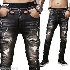 Mens Fashion Straight Leg Washed Denim Jeans Trousers Slim Fit Pants Skinny Pant