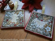 Set of 2 Christmas Decorations Wren & Bird Designs in Reds/Golds Tree Decoration