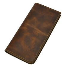 Men's Genuine Leather Cowhide Bifold Brown Long Card Holder Clutch Purse Wallet