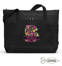 Floral Monogram Personalized Embroidered Tote Bag Zippered Tote, with Pockets