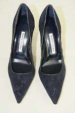 $895 New Manolo Blahnik BB Navy Blue Suede Pumps Heels Shoes 40 9.5