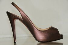 New Christian Louboutin Numero Prive Metallic Purlpe Platform Slingback Shoes 40