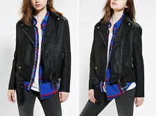 Silence + Noise urban outfitters vegan leather moto jacket belted xsmall small 4