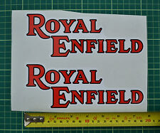 Royal Enfield Text Logo, white background - decal, sticker - Pair - 200 x 78mm