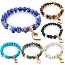 Natural Blue Sodalite Turquoise Tiger Eye Stone Onxy Bead Heart Charms Bracelet