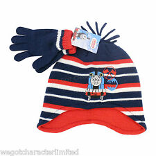 Official Licensed Thomas The Tank Engine Hat And Gloves Striped Set 2-4 Years