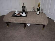 xxl foot stool upholstered top coffee table footstool dark turned castor legs