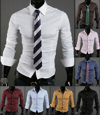 Fashion Mens Luxury Stylish Long Sleeve Slim Fit Casual Dress Shirts Stylish f0