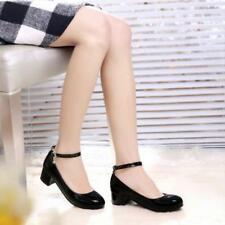Womens Patent Leather Ankle Strap Office Mid Heels Pumps Shoes US SZ 4-13.5 NEW