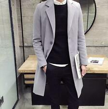 Men's single-breasted long trench coat woolen stylish slim parka jackets outwear
