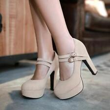 Womens Sexy High Heels Platform 4Color Buckle Double Strap Party Shoes PLUS SIZE