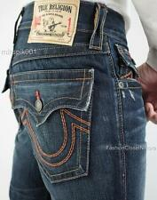 TRUE RELIGION Mens RICKY STRAIGHT FLAP REVERSE DYE RED Jeans Denim Authentic NWT