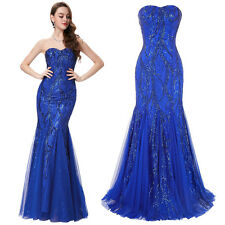 Sequins Long Prom Party Dress Mermaid Evening Formal Wedding Gown Pageant Dress