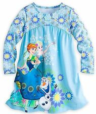 NWT Disney Store Frozen Anna Elsa and Olaf Nightgown Nightshirt Long Sleeve NEW