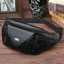 Men Genuine Leather Fanny Waist Pack Cell Phone Case Purse Sling Chest Belt Bag