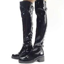 Men's motorcycle Punk Over The Knee Boot PU Leather Riding Punk stage show Shoes