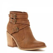 Rocket Dog DEON Ladies Womens Mid Heel Zip Up Strappy Ankle Boots Tan Brown