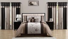 Luxurious 7 Pieces Chocolate Brown Embroidery Floral Comforter Set Bed-in-a-bag.