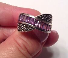 NEW - Marcasite and Amethyst Ring - Sterling Silver 925