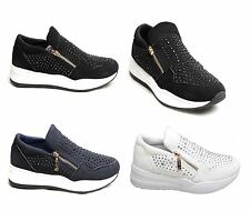 Women Ladies Suede Fashion Trainers Zip Shoes Diamante Stone Sneakers Gym Sport