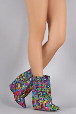Nelly Bernal Highlife Faux Leather Fold Over Bootie Rainbow Snake Print Boots