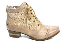 Mustang Shoes Womens Crochet Pixie Low Heel Lace Up Ankle Boots Size 3 4 5 6 7 8