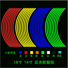 16 Strips Reflective Motorcycle Car Rim Stripe Wheel Decal Tape Stickers A+