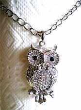 Silver Tone/Gold Tone Long Chain Large Owl Pendant Swarovski Crystal Necklace