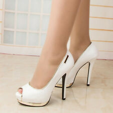 WOMEN SHOES DESIGNER WHITE PEEP TOE HIGH HEELS CELEBRITY WEDDING PARTY EVENING