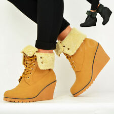 WOMENS LADIES ANKLE BOOTS WEDGE HEEL PLATFORM FUR LINED LACE UP BOOTIES SHOES UK