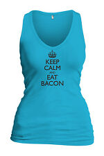 Women's Keep Calm And Eat Bacon Tank Top Funny Gift Food Lover Shirt FREE S&H!