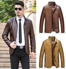 NWT Mens Leather Jacket Business Coat Motorcycle Biker Outwear Hipster Handsome