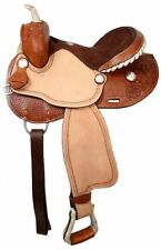 "Double T Barrel Style Saddle Silver Laced Rawhide Cantle 15"" 16"" NEW"