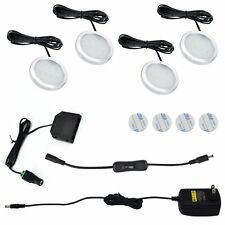 LED Under Cabinet Lights Puck Lighting 4 Lamps Kit with On/Off Switch Button